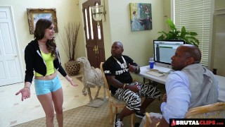 BrutalClips - Skinny Riley Reid fucks and sucks two big black cocks