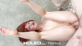 HOLED - Adria Rae and Megan Rain anal fucked in threesome Full homemade
