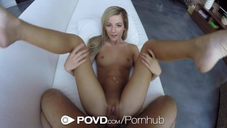 POVD - Lean blonde Bella Rose grinds on thick cock  babe big-cock shaved-pussy ass-licking point-of-view blonde blowjob bella-rose cumshot pov hardcore small-tits povd facial