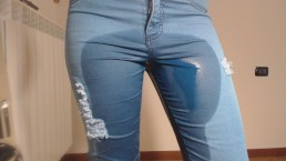 Pee in tight jeans