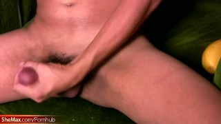 Slim femboy in sexy lingerie enjoys striptease and jerks off