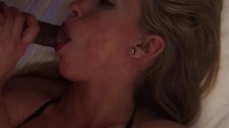 Sexy blonde gives amazing blow job and swallow my cum!