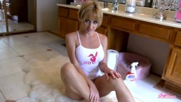 Hot blonde masturbates on bathroom floor - Angela Sommers