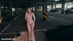 Jeny Smith nude oiling herself in a public parking