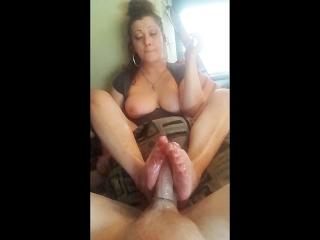 Smoking foot fuck