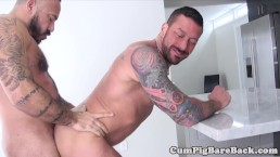 Tattooed bare cocksucking before raw fucking