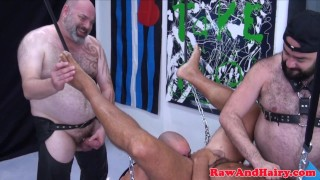 Leather fetish hairy gays bareback group fuck