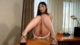 Hairy Newhalf Pulls Her Dick