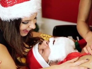 Preview 3 of 7 young naughty girls Lick and fuck Santa Claus!