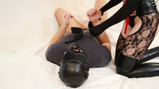 A redhead mistress jump on face strapon (Femdom facesitting and FaceFuck)  kink facefuck ass licking ass to mouth face strapon slave facesitting strapon redhead femdom