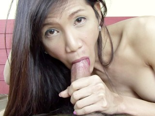Slender ladyboy Que enjoys a hard cock and a mouthful of cum