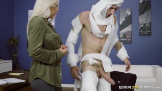 Rachel Roxxx has fun at the office costume party - Brazzers  big tits big cock blonde brazzers big dick pounded boss piercing milf office bwc wet heels doggystyle big boobs bent over standing fuck monster cock