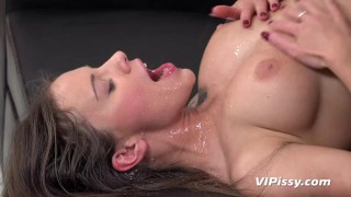 Horny babe Lita takes a mouthful of cum and piss after fucking
