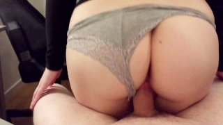 Teen while busty her boyfriend gets riding creampied petite redhead young