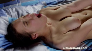 Defloration of Elza - first time sex with boyfriend Latina therealworkout