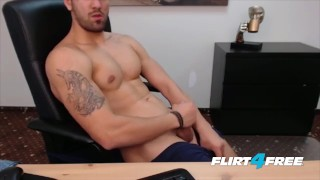 Smooth Chiseled Hunk Gets Off in His Office Blowjob close