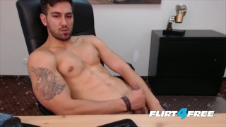 Smooth Chiseled Hunk Gets Off in His Office porno