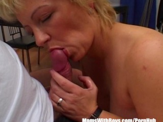 Mature Blonde Sucking Her Guests Hard Cock