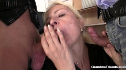 Very old blonde granny riding and sucking