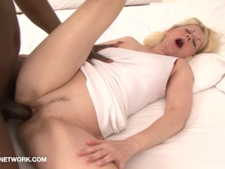 Granny caught fucking black man with big cock she gets fucked hard