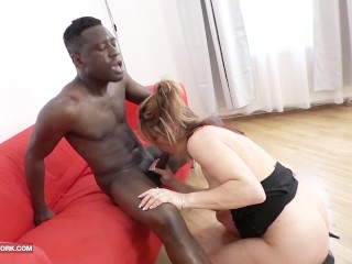 Horny german housewife fucking black