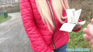 On public blonde backseat beautiful fucks agent cash for