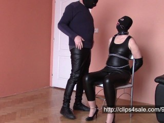 Wife in leather selfbondage and cum on leather