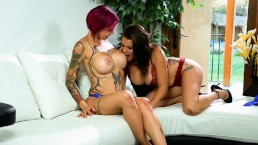 Big Tits Lesbian Anna Bell Peaks And Peta Jensen Have Hot fun Over night