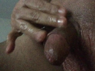 Jerking Off in Baby Oil and Roomate's Peach Panties