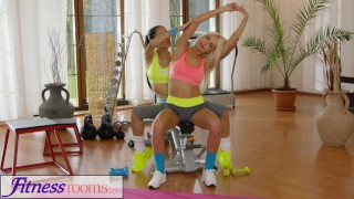 Fitness Rooms Naughty Asian babe fucks fit and firm gym milf after class  russian asian blonde fitness gym milf exercise lycra fitnessrooms lesbian workout girl-on-girl czech