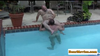 Polar bear cocksucked in the pool Public tits