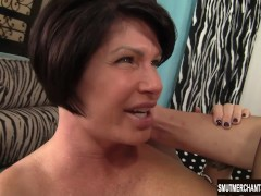 Hot cougar dominates boy's cock