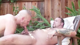 Horny pool guy wants his client to suck his dick