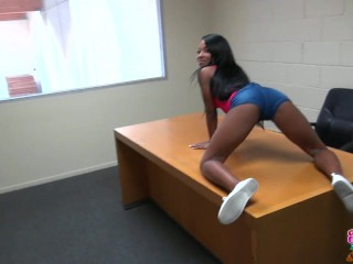 Black GF – Ebony teen gets pounded in the back room