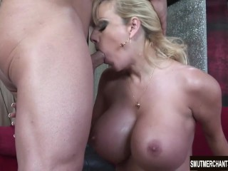 Big boobed blonde takes cock