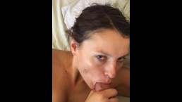 Sexy Teen deepthroat thick cock before begging for facial