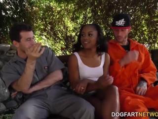 Threesome Fucking with Ebony Amilian Kush