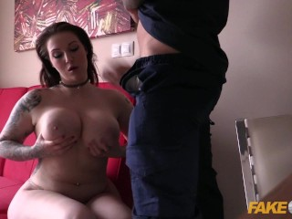 Fake Cop Cop Cums On Massive British Tits
