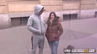 BoxTruckSex - XXX Casting - Big ass latina's fucking and sucking in public Sitter smalltits
