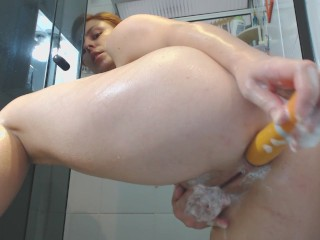 Bath and anal with fingers and toy