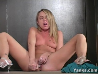 Blonde Tricia Toys Her Muff