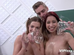 Naughty girls enjoy piss play with their college teacher