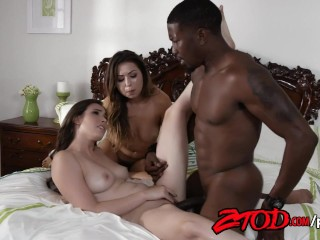 Casey Calvert and Melissa Moore Sharing a Black Monster Cock