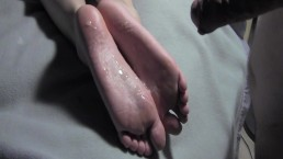 Cum on my young wife sexy feet. Wife feet covered with sperm FootsieHotwife