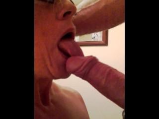 Hot wife sucks lovers cock.