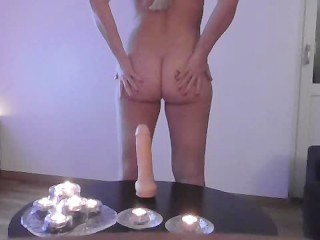 Huge dildo dripping wet pussy orgasm small squirt