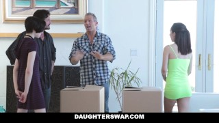 DaughterSwap - Naive Teenagers Tricked Into Fucking Their Dads Sislovesme shaved