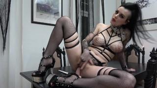 Slutty Goth rides and sucks her Dildo...  ass-fuck german german-anal high-heels german-brunette adult toys tattoed dildo riding gothic inked german gothic girl goth