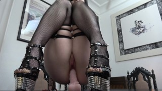 Slutty Goth rides and sucks her Dildo...  ass-fuck german german-anal high-heels german-brunette adult toys tattoed gothic dildo riding inked german gothic girl goth