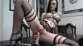 Slutty Goth rides and sucks her Dildo...  german gothic adult toys tattoed dildo riding inked german gothic girl goth